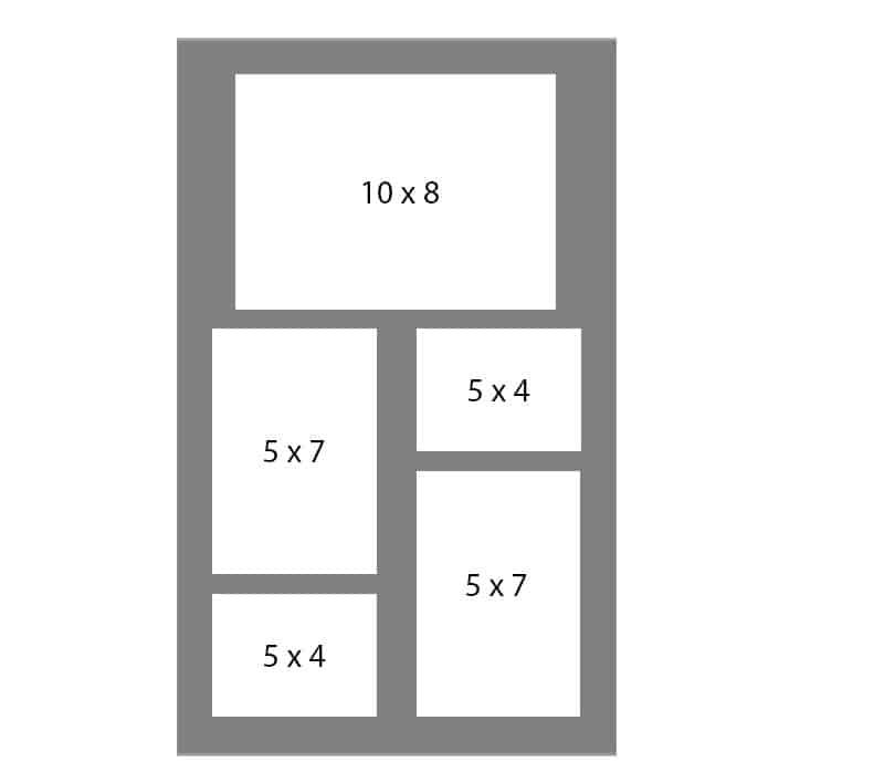 #117 EXMO 1-8x10 - w/ 2-5x7 - w/ 2-5x4 Openings
