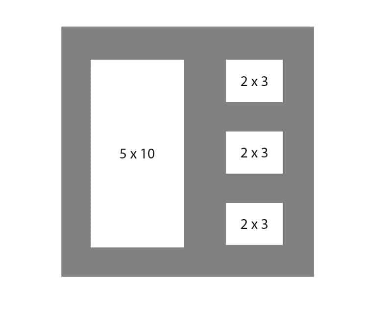#120 EXMO 1-5x10 - w/ 3-2x3 Openings