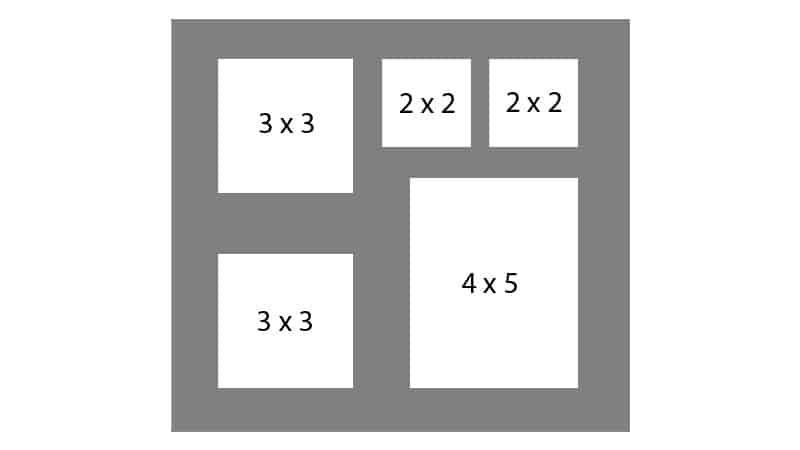 #132 EXMO 2-3x3 w/ 1-4x5 & 2-2x2 Openings