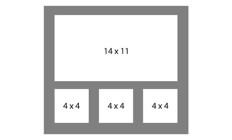 #135 EXMO 1-14x11 w/ 3-4x4 Openings