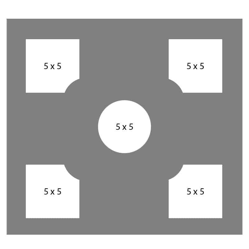 #26 EXMO 55P-55C-55P 18 X 18, 5-5X5 Openings