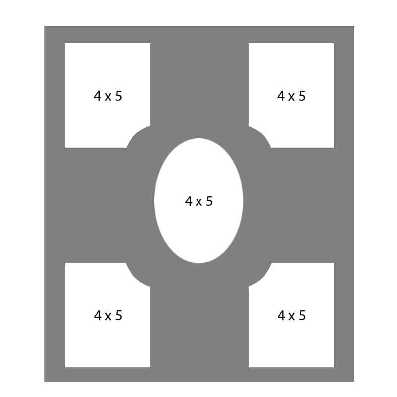 #27 EXMO 45P-45O-45P 14 X 18, 5-4X5 Openings
